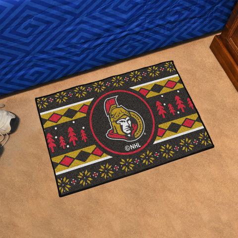 NHL Ottawa Senators CHRISTMAS SWEATER Starter Rug - Bed, Bath, And My Team