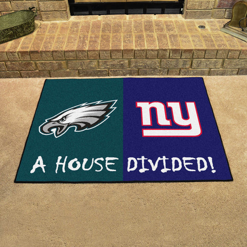 NFL Rivalry Rug Philadelphia Eagles / New York Giants House Divided Mat - Bed, Bath, And My Team