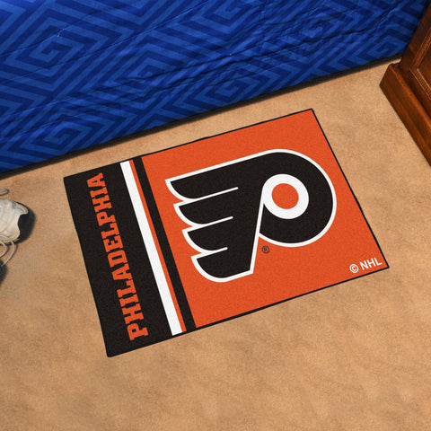 NHL Philadelphia Flyers Uniform Inspired STARTER Rug - Bed, Bath, And My Team