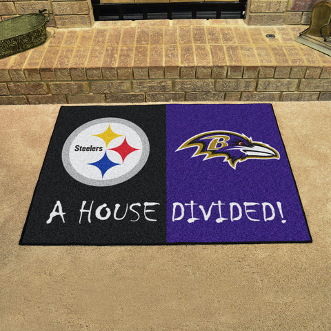 NFL Rivalry Rug Pittsburgh Steelers / Baltimore Ravens House Divided Mat - Bed, Bath, And My Team