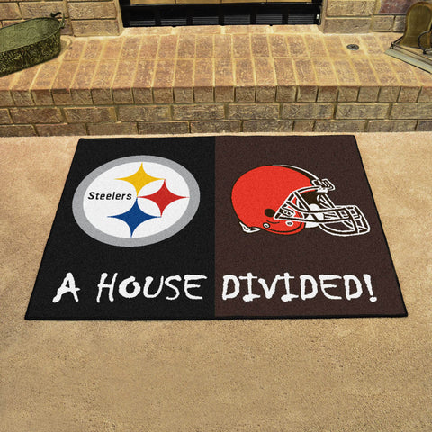 NFL Rivalry Rug Pittsburgh Steelers / Cleveland Browns House Divided Mat - Bed, Bath, And My Team