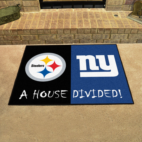 NFL Rivalry Rug Pittsburgh Steelers / New York Giants House Divided Mat - Bed, Bath, And My Team