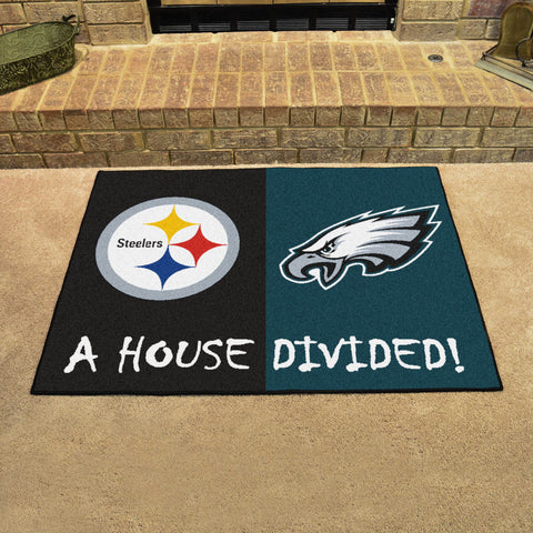 NFL Rivalry Rug Pittsburgh Steelers / Philadelphia Eagles House Divided Mat - Bed, Bath, And My Team