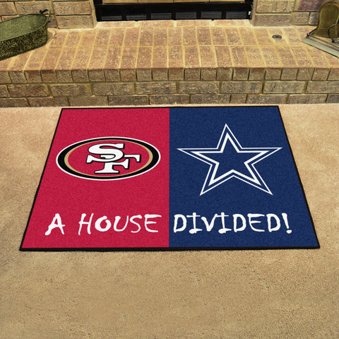 NFL Rivalry Rug San Francisco 49ers / Dallas Cowboys House Divided Mat - Bed, Bath, And My Team