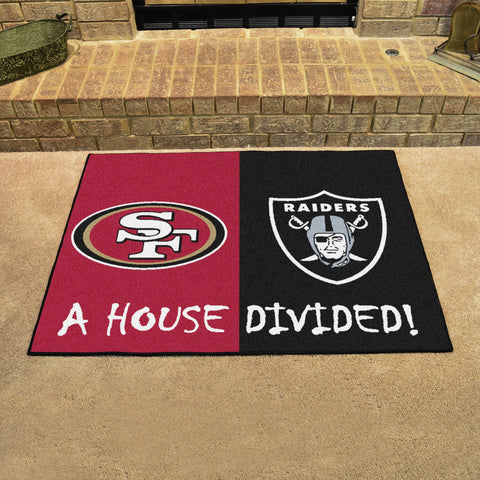 NFL Rivalry Rug San Francisco 49ers / Las Vegas Raiders House Divided Mat - Bed, Bath, And My Team