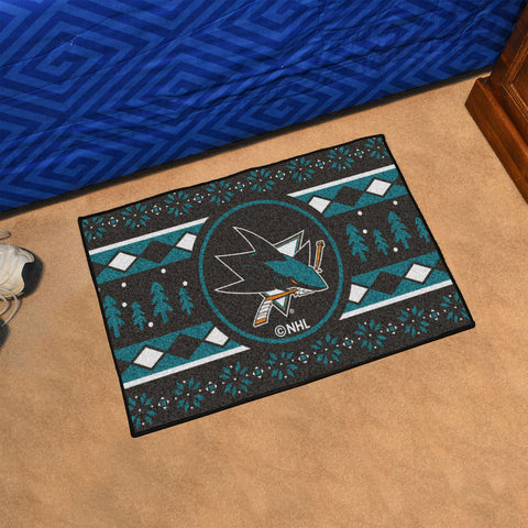 NHL San Jose Sharks CHRISTMAS SWEATER Starter Rug - Bed, Bath, And My Team