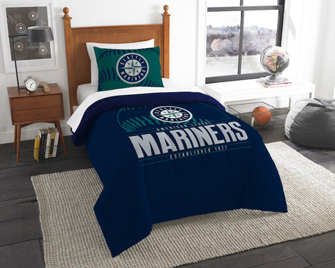MLB Seattle Mariners Twin Comforter and Pillow Sham - Bed, Bath, And My Team