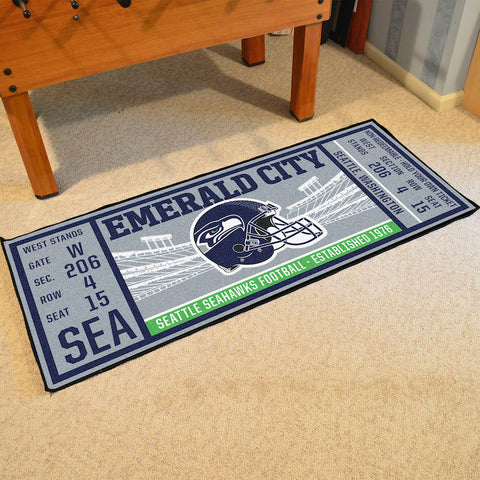 Seattle Seahawks Football Ticket Carpet Runner Rug