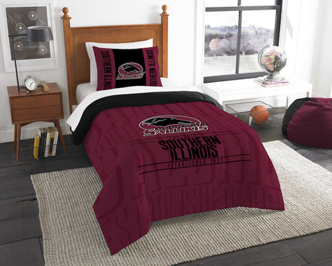 Southern Illinois Salukis twin comforter and pillow sham