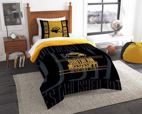 Southern Mississippi Golden Eagles twin comforter and pillow sham
