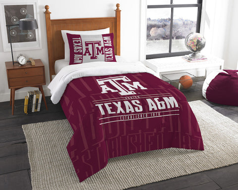 NCAA Texas A&M Aggies Twin Comforter and Pillow Sham - Bed, Bath, And My Team
