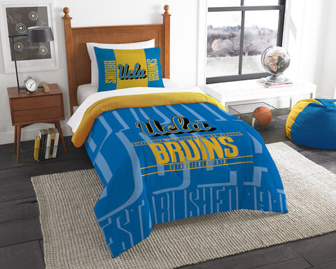 UCLA Bruins twin comforter and pillow sham