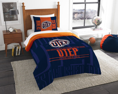 UTEP Miners twin comforter and pillow sham