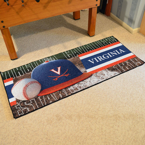Virginia Cavaliers Baseball Logo Carpet Runner Rug