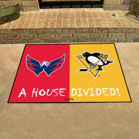 NHL Rivalry Rug Washington Capitals / Pittsburgh Penguins House Divided Mat - Bed, Bath, And My Team