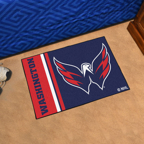 NHL Washington Capitals Uniform Inspired STARTER Rug - Bed, Bath, And My Team