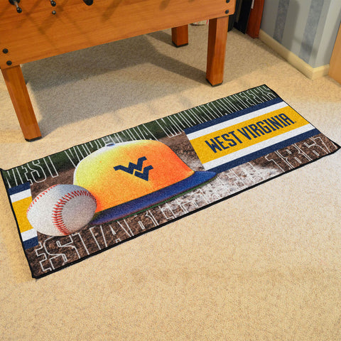 NCAA West Virginia Mountaineers Baseball Logo Carpet Runner Rug - Bed, Bath, And My Team