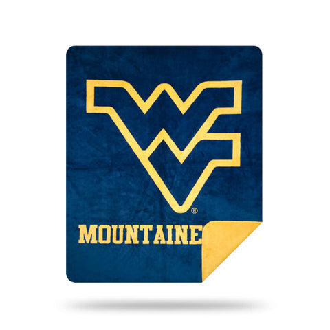 NCAA West Virginia Mountaineers 60 x 72 DENALI Silver Knit Throw Blanket - Bed, Bath, And My Team