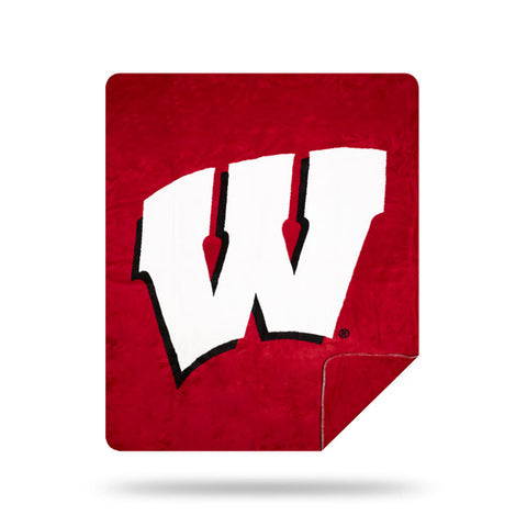 NCAA Wisconsin Badgers 60 x 72 DENALI Silver Knit Throw Blanket - Bed, Bath, And My Team