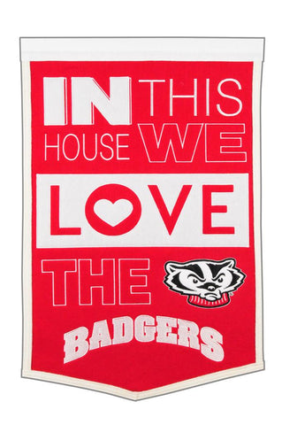 NCAA Wisconsin Badgers HOME Hanging Wool Banner - Bed, Bath, And My Team
