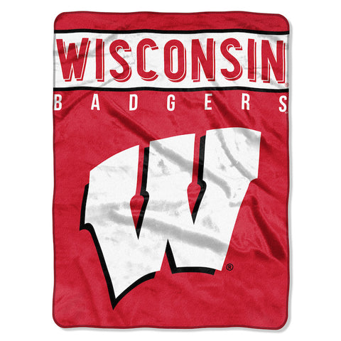 NCAA Wisconsin Badgers 60 x 80 Large Plush Raschel Throw Blanket - Bed, Bath, And My Team