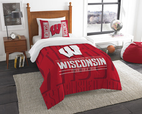 Wisconsin Badgers twin comforter and pillow sham