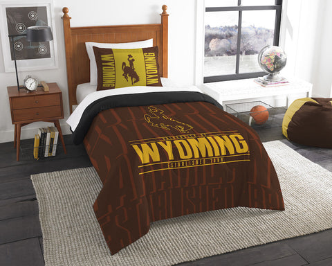 Wyoming Cowboys twin comforter and pillow sham