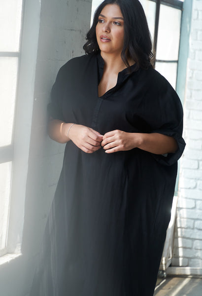 Black Cotton Easy Shirt Dress