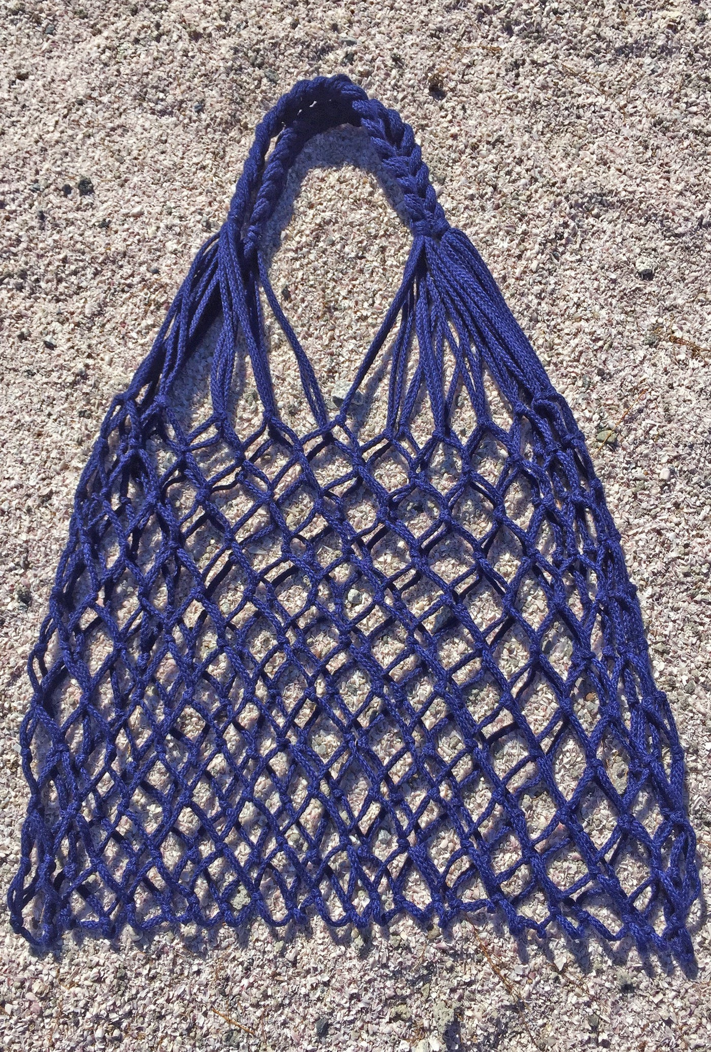 Bag - LA Burro Studio Hand-Knitted Market Bag - Navy Blue