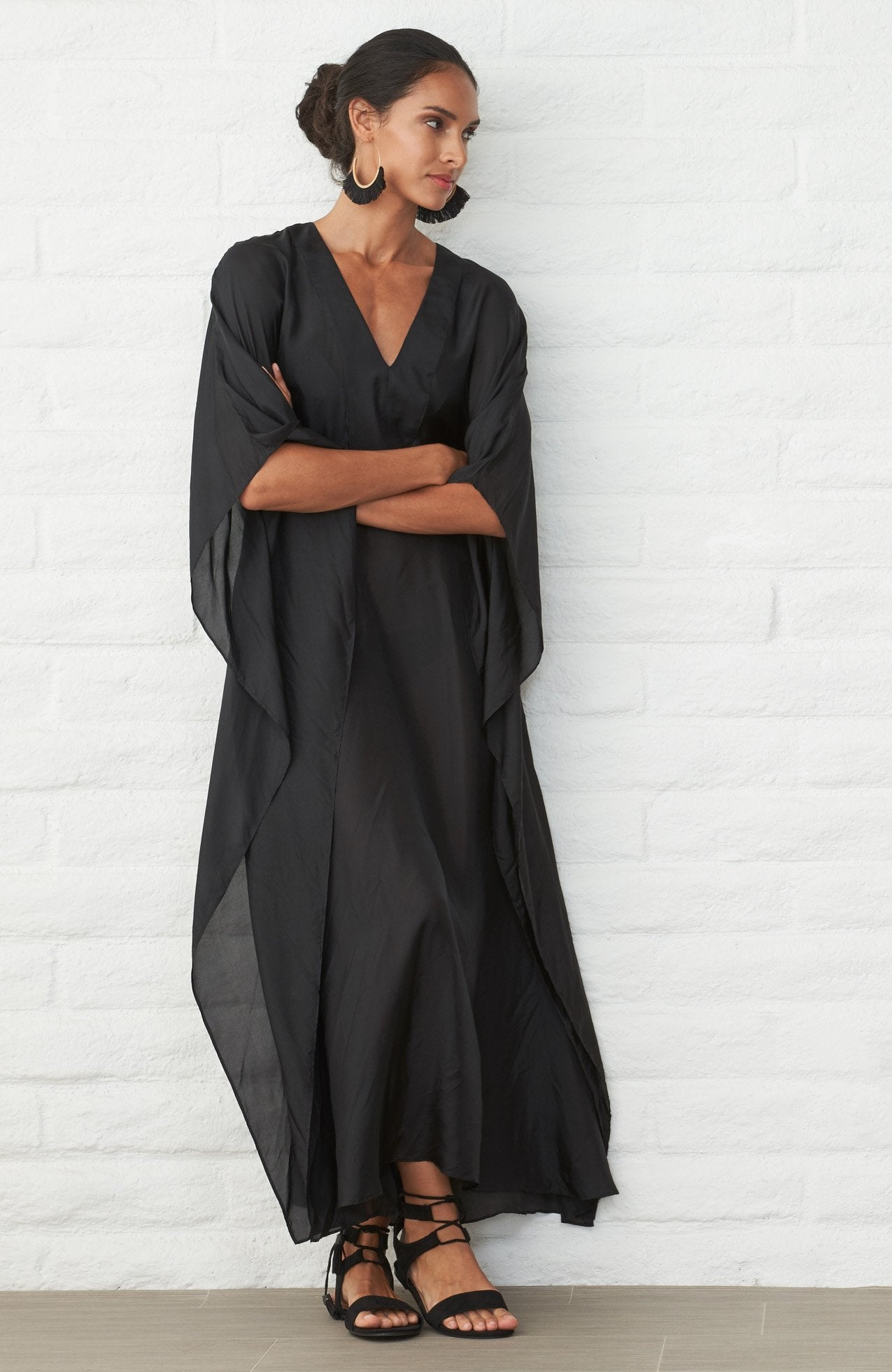 Caftan - Black Silk Placket V-Neck Long Caftan