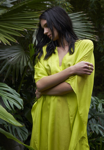 Caftan - Chartreuse Silk Placket V-Neck Long Caftan