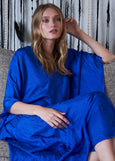 Caftan - Cobalt Silk Placket V-Neck Long Caftan