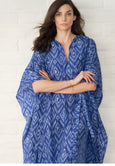 Caftan - Malaysia Collection:  Ikat Print Long Silk Caftan - Only 12 Made