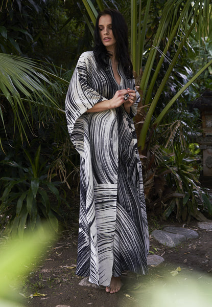 Caftan - Malaysia Collection:  Monsoon Print Long Silk Caftan - 12 Made