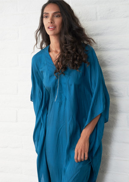 Caftan - Teal Silk Placket V-Neck Long Caftan