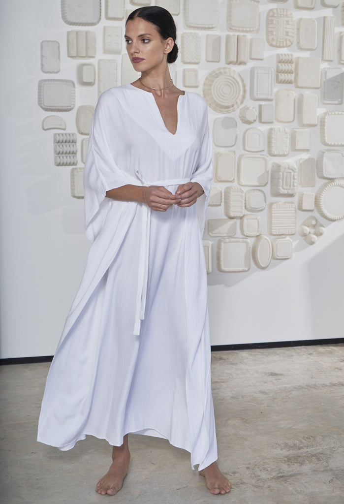 Eco Friendly Caftan, Ethically Sourced, Locally Made, White Maxi Dress