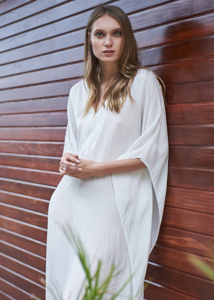 Caftan - White Silk Placket V-Neck Long Caftan - 10 Made