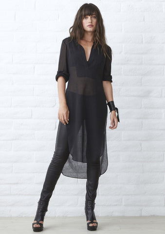 The Jess Tunic - Long Open Side Tunic in Black