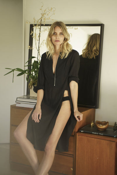 Tunic - The Jess Tunic - Long Open Side Tunic In Black