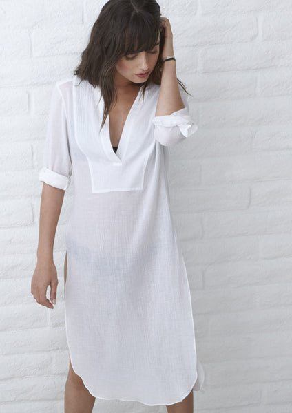 Tunic - The Jess Tunic - Long Open Side Tunic In White