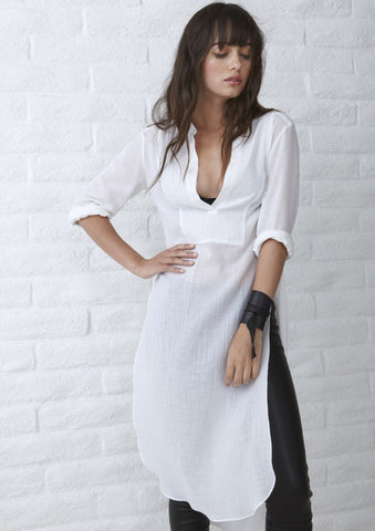 The Jess Tunic - Long Open Side Tunic in White