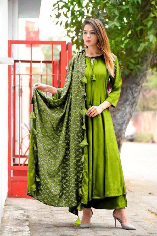 Rayon stitched top plazzo with dupatta