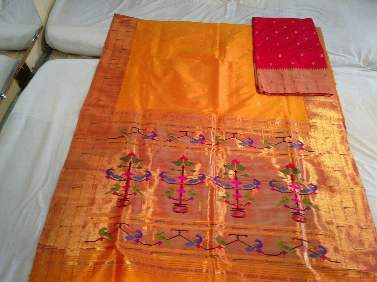 Classic Pure Handloom Silk Paithani Sari in Orange Color