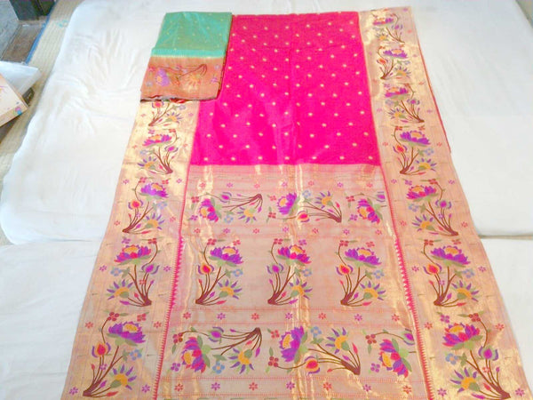 Green-Gold and Pink Paithani Saree with Beautiful Floral Work