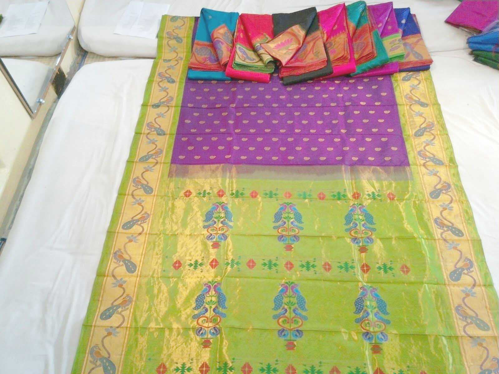 Green and Purple Silk Paithani Saree with Peacock Motif Border