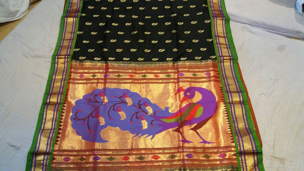 Black Paithani with Big Peacock on Pallu