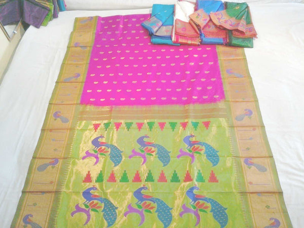 Beautiful Pink Silk Paithani Saree with Pale Green and Rich Jari borders. Available in 4 more colors. - IndiaSilkArt.Com