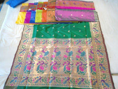 Beautiful Golden and Bottle Green Saree with Tissue Pallu - IndiaSilkArt.Com