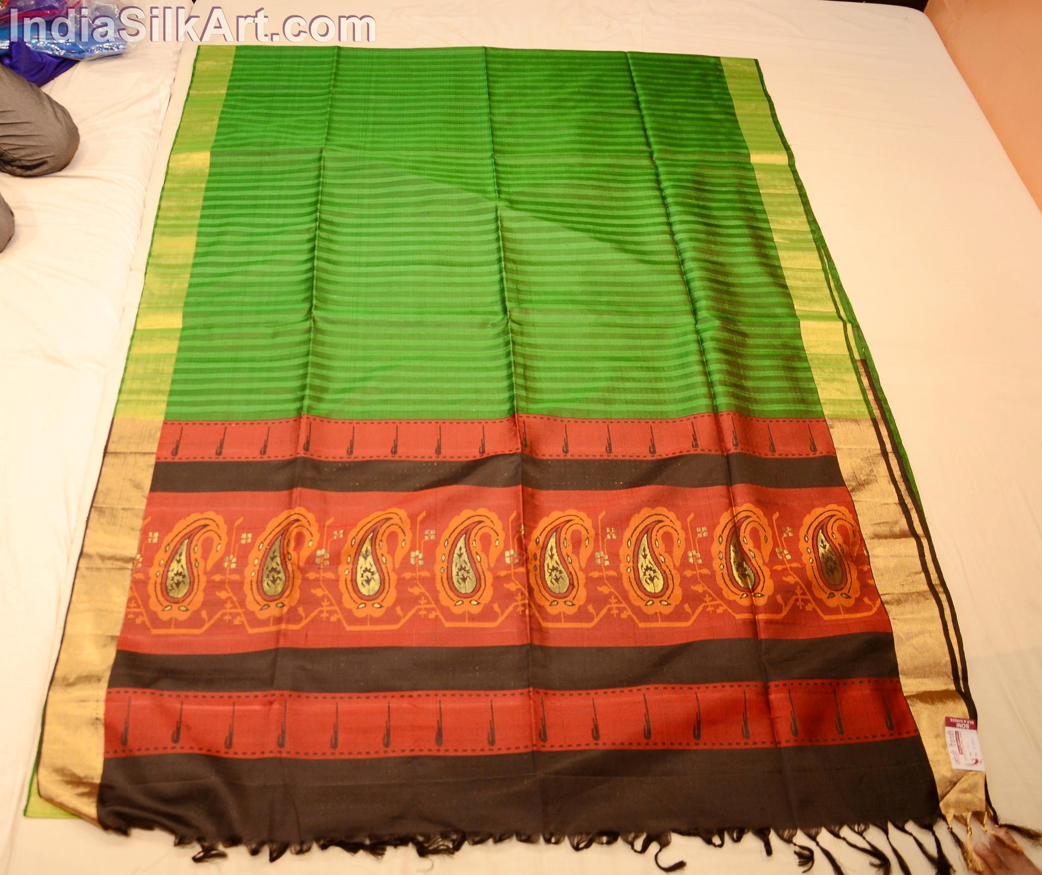 Paithani - Handloom Designer Sari - Silk - Dark Green - Border