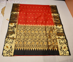 Paithani - Handloom Designer Sari - Silk - Red With Black /golden Border